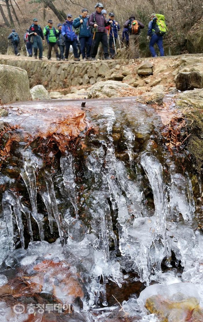 초강력 한파에 얼어버린 물줄기