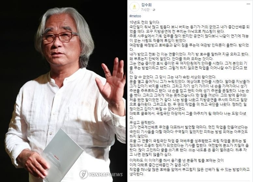 ▲ 이윤택 연출가(왼쪽)와 김수희 대표의 페이스북글 캡처