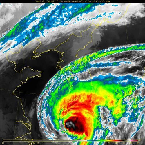 ▲ 2016년 10월 한반도를 지나는 태풍 '차바'의 적외선 영상. [과학기술정보통신부 제공]