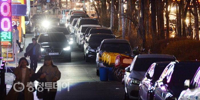 주차장 된 갈마동 도로