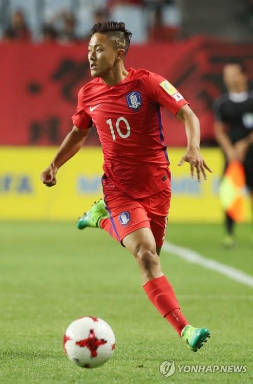 ▲ 작년 FIFA 20세 이하(U-20) 월드컵에서 한국 대표로 활약한 이승우의 경기 모습