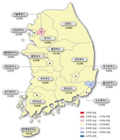 ▲ 시도별 아파트 매매가격지수 변동률 [한국감정원 제공]