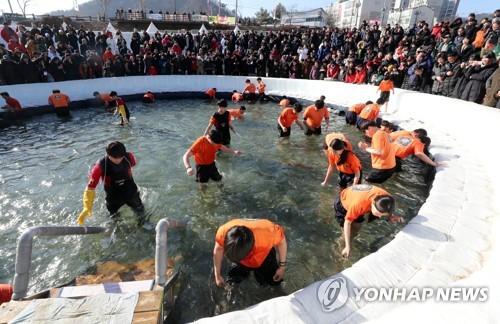 ▲ 2019 화천산천어축제 맨손잡기[연합뉴스 자료사진]