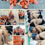 생존수영 배우는 학생들